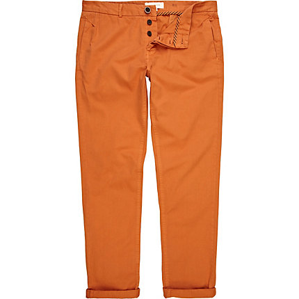 Orange slim chinos