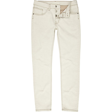 White denim skinny flynn jeans