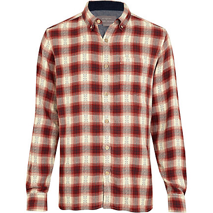 Red aztec check shirt