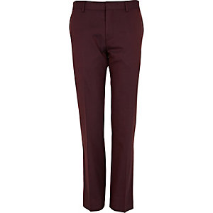 Red berry contrast slim suit trousers
