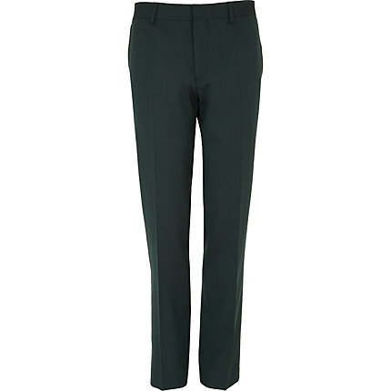 Green contrast slim suit trousers