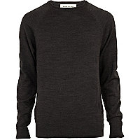 Dark grey elbow patch jumper
