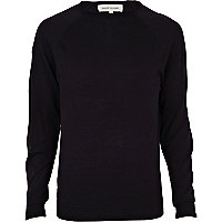 Navy elbow patch jumper