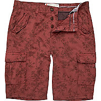 Red floral cargo shorts