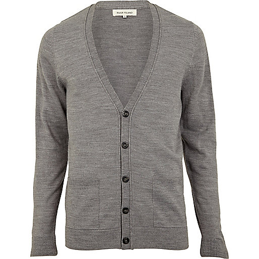 Light grey V neck cardigan