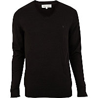 Black v neck acrylic jumper