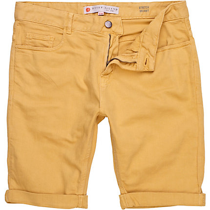 Yellow stretch skinny shorts