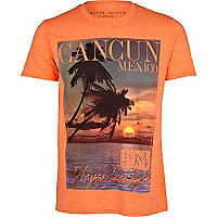 Orange cancun mexico print t-shirt