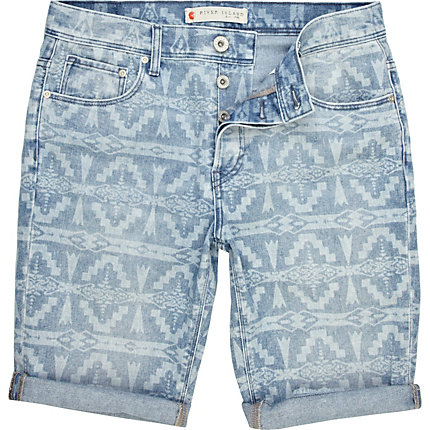 Blue navajo print denim shorts