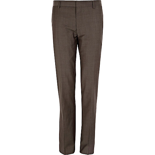 Dark stone slim suit trousers