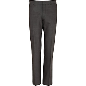Grey wool-blend slim suit trousers