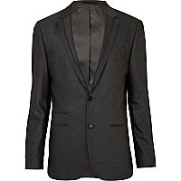 Charcoal grey contrast slim suit jacket