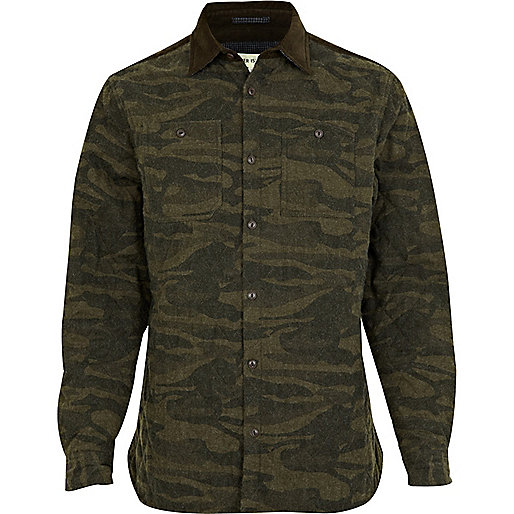 Green camouflage quilted shirt