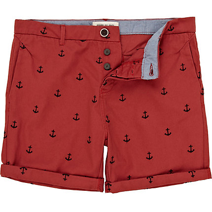 Red anchor embroidered shorts