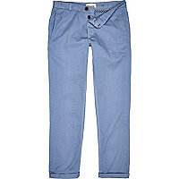 Blue casual turn up trousers