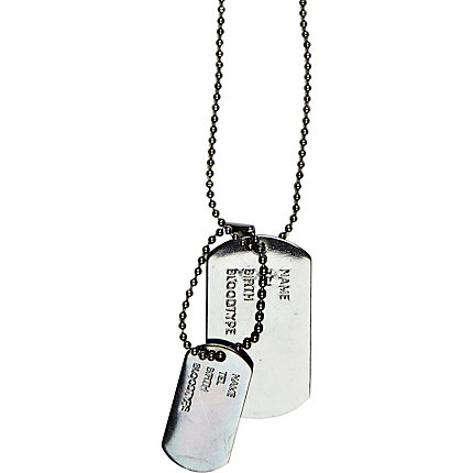 Grey gunmetal dogtag necklace
