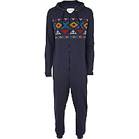 Mens blue aztec hooded onesie