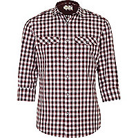 Berry red check mini collar military shirt