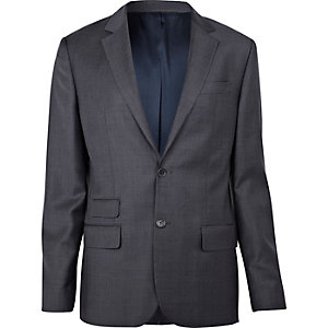 Grey fine check suit jacket