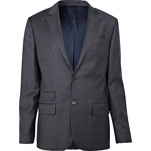Grey fine check suit jacket