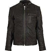 Black strap neck leather jacket