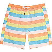 Orange block stripe shorts