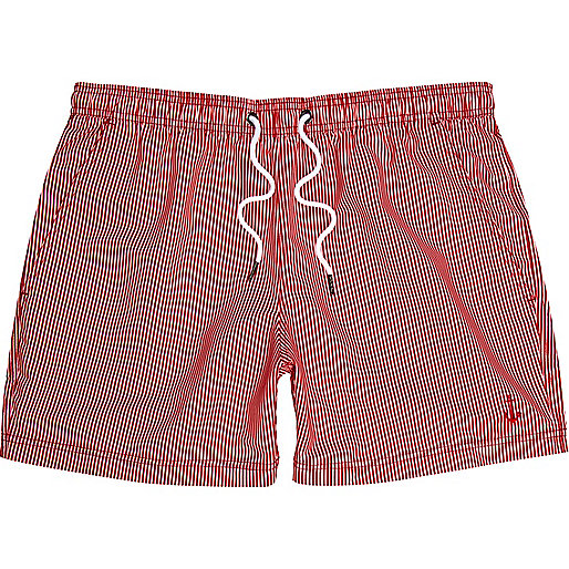 Red stripe swim trunks