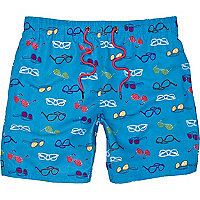 Blue sunglasses print swim shorts