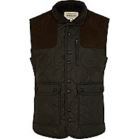 Olive green shoulder patch gilet