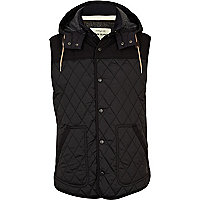 Navy diamond quilted gilet