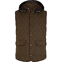 Khaki wool diamond quilted gilet