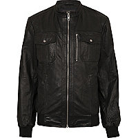 Black zip through leather jacket