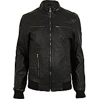 Black leather look bomber jacket