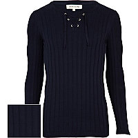 Navy rib lace neck jumper