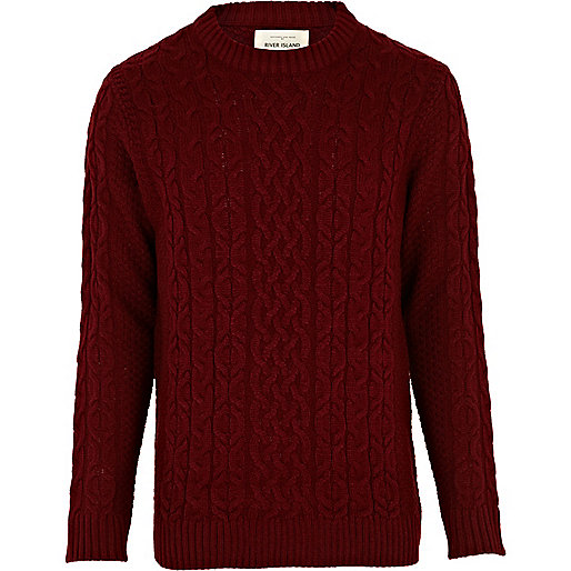 Dark red cable knit sweater