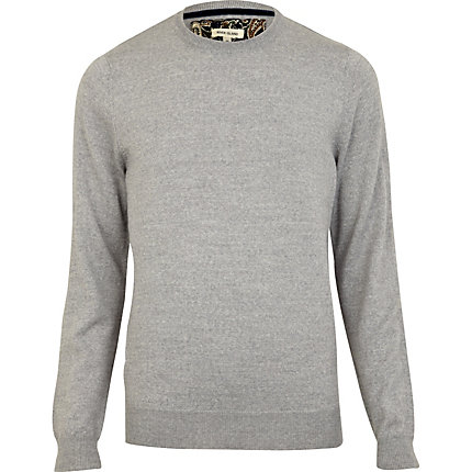 Light grey merino blend elbow patch jumper