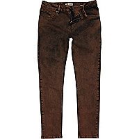 Brown acid wash Sid stretch skinny jeans