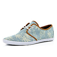 Blue palm tree print lace up plimsolls