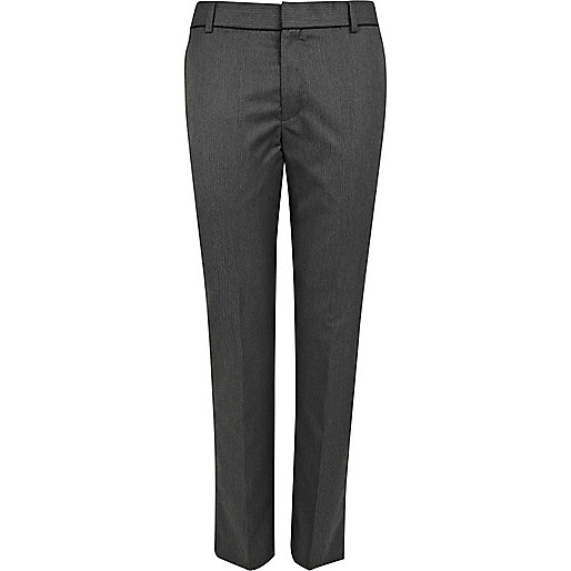 Grey stripe smart slim trousers
