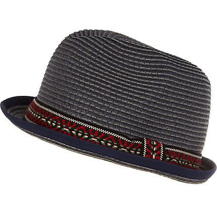 Navy aztec band trilby hat