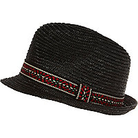 Black aztec band trilby hat