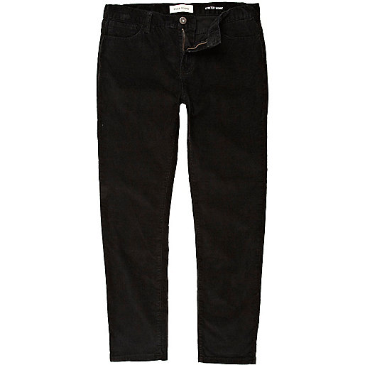 Black corduroy stretch skinny trousers
