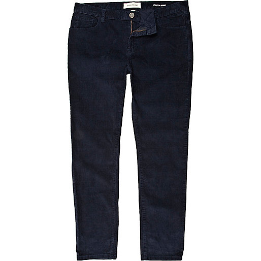 Blue corduroy stretch skinny pants