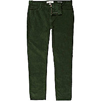 Green corduroy stretch skinny trousers