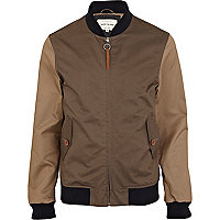 Brown and beige contrast bomber jacket