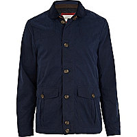 Blue buckle detail casual jacket