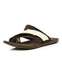 Brown toe thong sandals