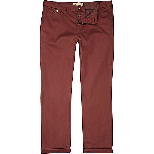 Dark burnt red slim chinos