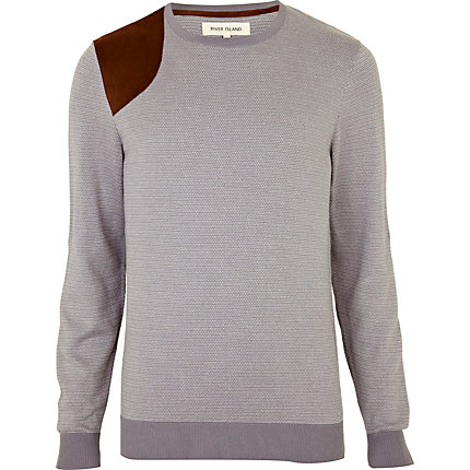 Light grey shoulder patch jumper