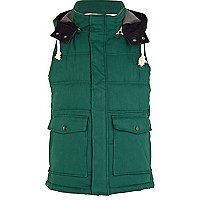 Green padded gilet